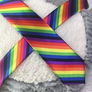 Accessories - Rainbow Stripe Necktie Novelty Skinny Tie